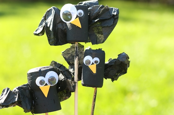3 wine cork crows on skewers