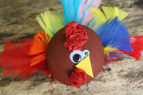 Painted rock turkey decoration