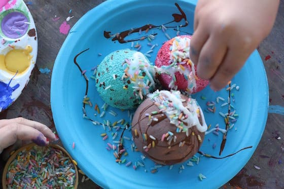 Coloured Rice Sprinkles on an ice cream craft