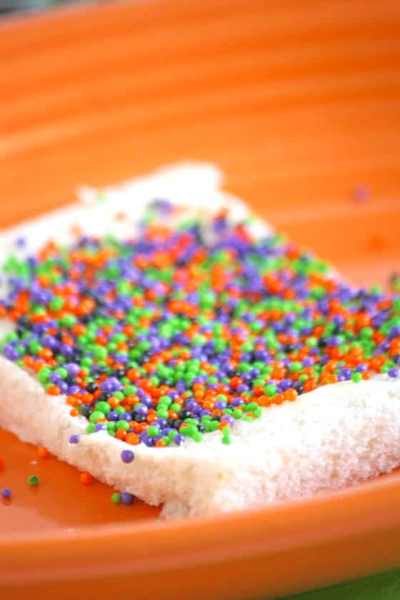 Buttered white bread topped with sprinkles