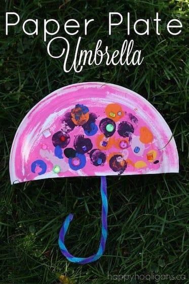 Paper Plate Umbrella Craft for Preschoolers