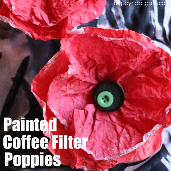 Painted Coffee Filter Poppy Craft for Veterans Day