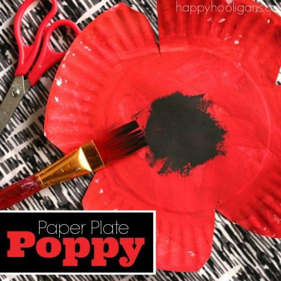 Paper Plate Poppy Craft for Veterens Day