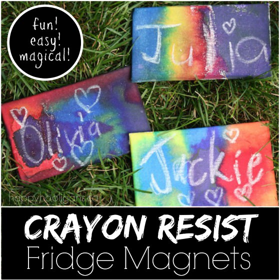 crayon resist fridge magnets happy hooligans