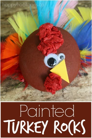 Painted Rock Turkeys for Kids to Make for Thanksgiving