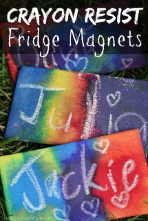 Awesome Homemade Fridge Magnets using a Crayon Resist Technique