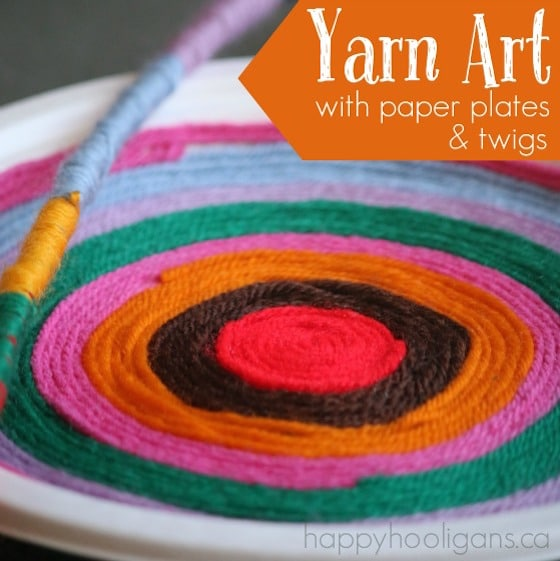Yarn Art Craft with Twigs and Paper Plates & Simple Beautiful Yarn Art with Paper Plates - Happy Hooligans