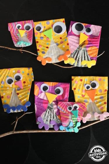 Adorable owls made out of cupcake liners
