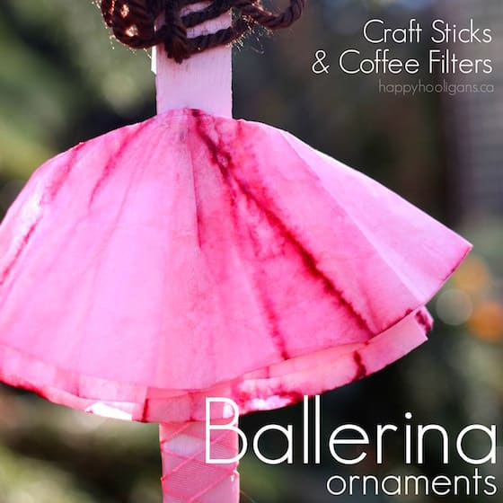 Ballerina Ornaments out of Craft Sticks and Coffee Filters