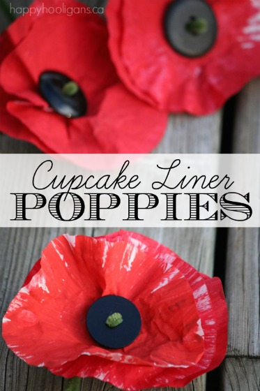Painted Cupcake Liner Poppy Craft - Happy Hooligans