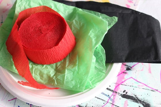 supplies for crepe paper and paper plate poppy
