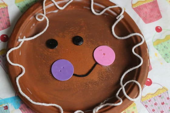 paper plate gingerbread man craft for toddlers and preschoolers