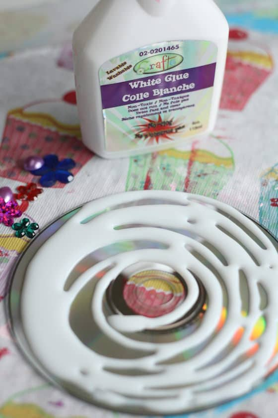 glue swirled on a cd