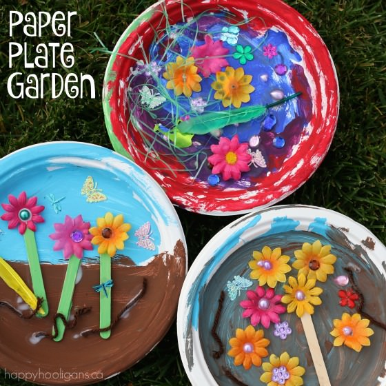 Paper plate garden a fun letter g craft happy hooligans for Garden crafts for toddlers