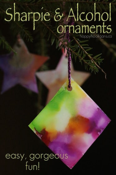 """Tie Dyed"" Christmas Ornaments with Sharpies and Rubbing Alcohol"