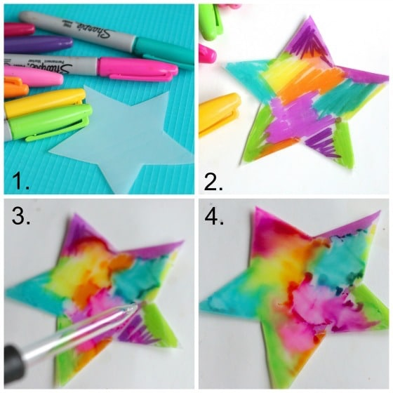 4 steps to Sharpie tie dyed ornaments