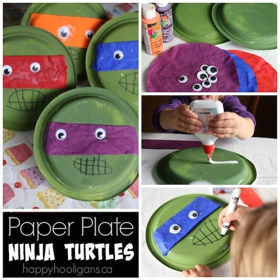 Teenage Mutant Ninja Turtle Paper Plate Craft - Happy Hooligans