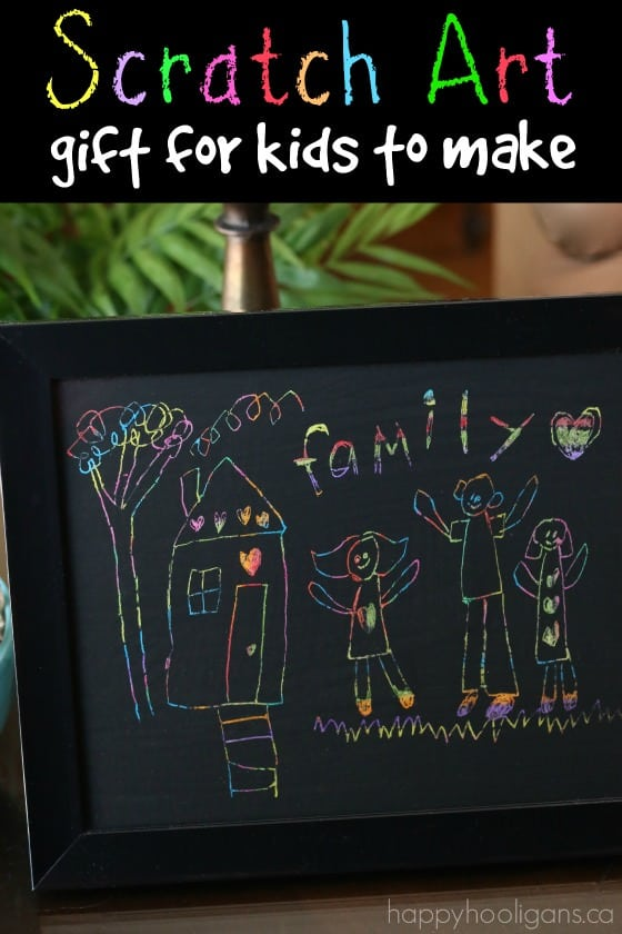 scratch art family portrait for kids to make for Father's Day