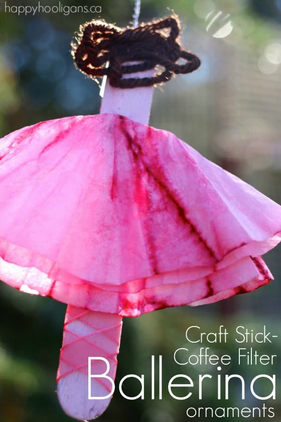craft stick and coffee filter ballerina ornaments