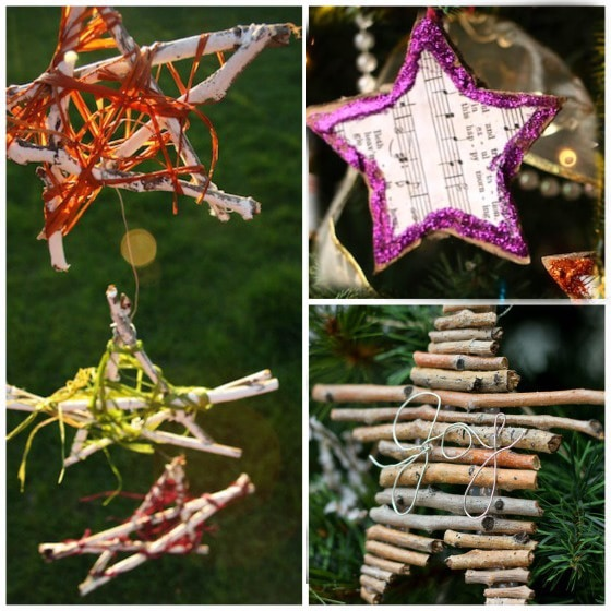Natural star ornaments for kids to make