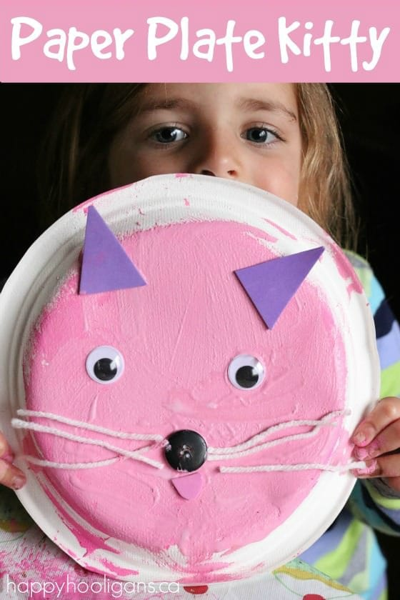 A Paper Plate Kitty - a cute Letter K craft for preschoolers - Happy Hooligans