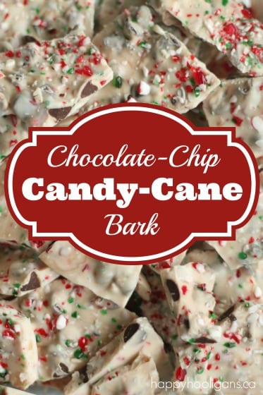 Easy Candy Cane Bark with Crushed Candy Canes and Chocolate Chips