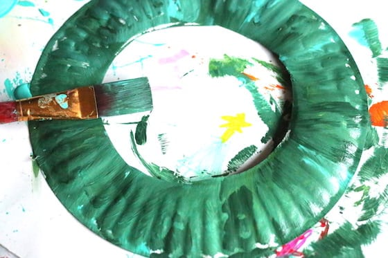 paper plate painted green