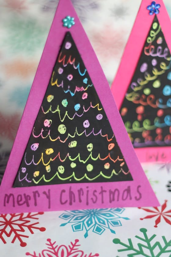 Cards made with crayon and black paint