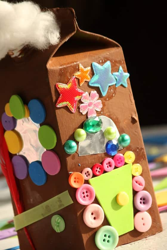 gingerbread house made from milk carton
