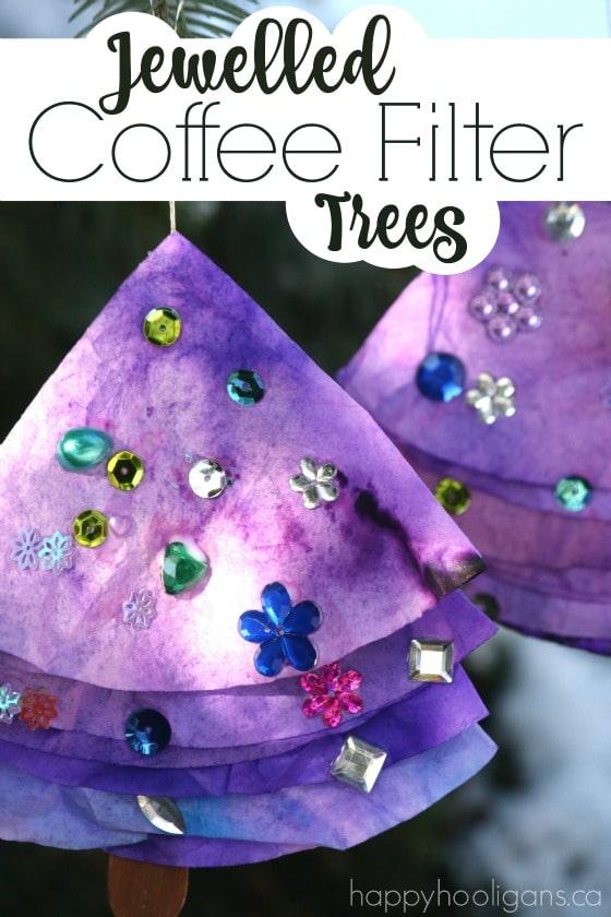 Jewelled Coffee Filter Christmas Tree ornaments - Happy Hooligans
