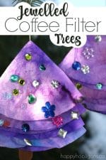 Coffee Filter Jewelled Trees for Kids to Make