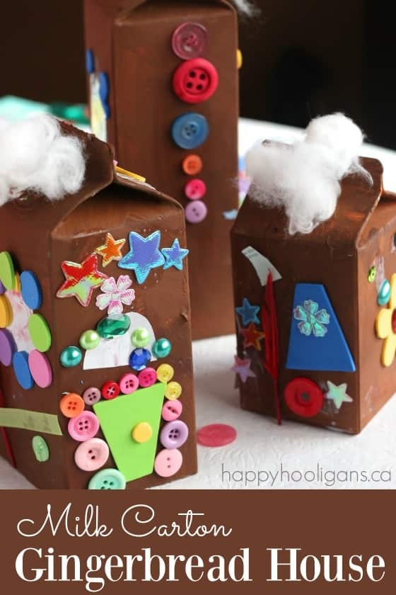 Milk Carton Gingerbread House Village- Happy Hooligans