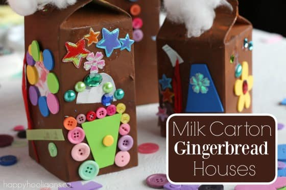 Milk Carton Gingerbread Houses for Kids to Make - Happy Hooligans