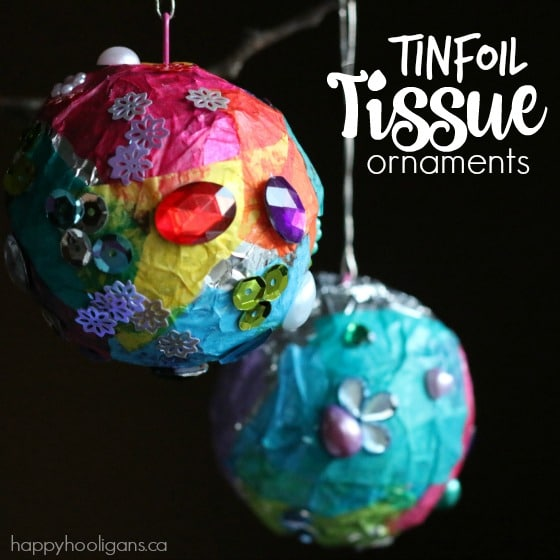 Tin Foil Tissue Paper Ornaments for Kids  Happy Hooligans