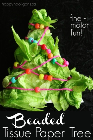 Beaded Tissue Paper Tree – A Fine-Motor Preschool Craft for Christmas