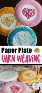long pin paper plate weaving