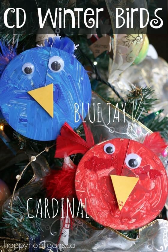 CD winter bird craft for toddlers and preschoolers - Happy Hooligans