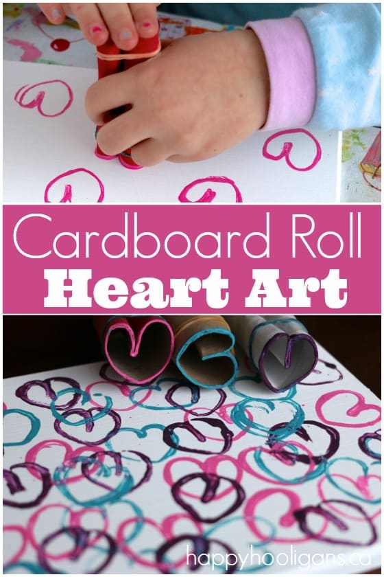 "Stamping Hearts with Cardboard Rolls is a fun and easy way for kids to make Valentines art or ""heart art"" for any day! Repurpose an old canvas, and your child can display their custom art on a bedroom wall! Great print making activity for kids of all ages - Happy Hooligans"