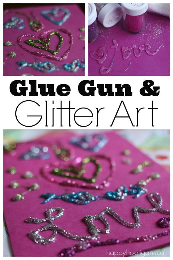 Glue Gun and Glitter Art - Great way to create greeting cards and custom art - Happy Hooligans