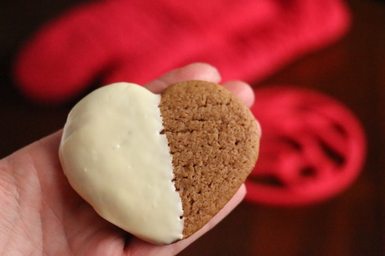 Easy white chocolate dipped gingerbread cookies made with pillsbury dough and white chocolate chips
