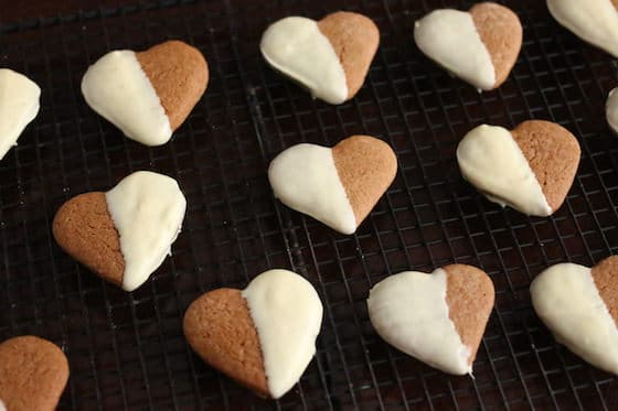 White Chocolate Dipped Heart Shaped Cookies