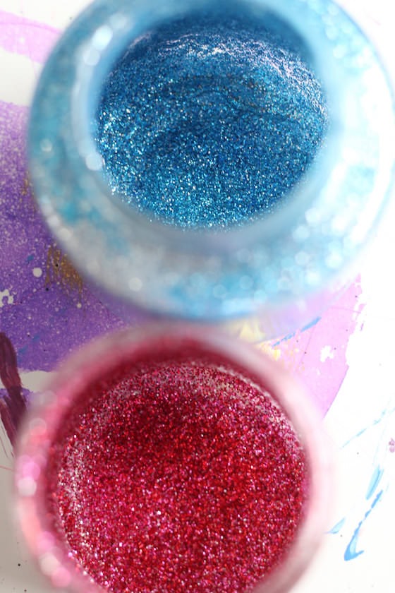 jars sprinkled with glitter inside