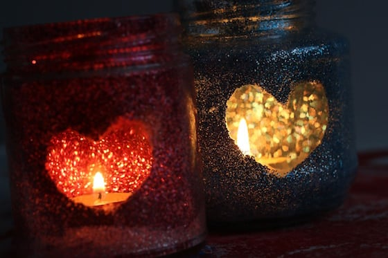 Glittered Tea Light Luminaries - one red and one blue