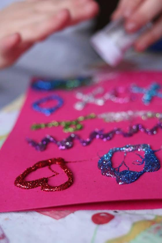 designs made with low heat glue gun and glitter