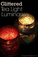 No-Mess Glittered Tea Light Luminaries