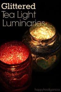 Kid Made Glitter Tea Light Luminaries - an easy Valentines craft for Kids to Make - Happy Hooligans
