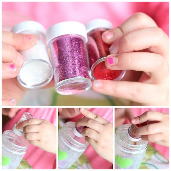 Glitter - child pouring glitter into glass jar