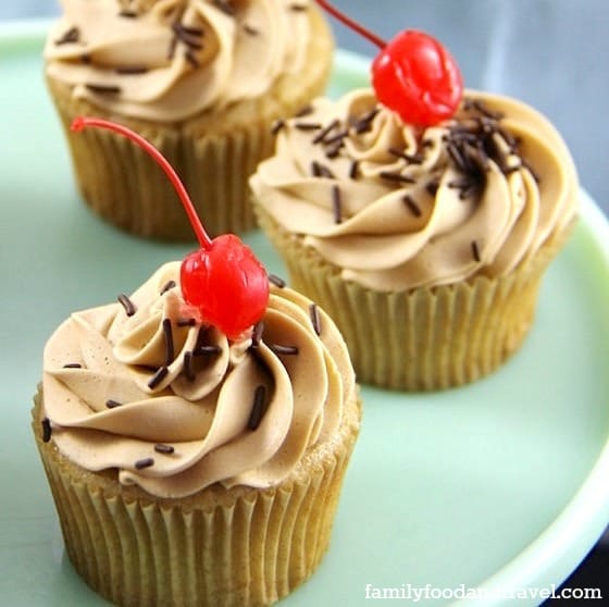 Rootbeer Cupcakes with root beer frosting and root beer glaze