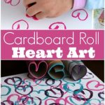 Kids can make a one-of-a-kind piece of Valentines art by stamping cardboard rolls in acrylic paint. - Happy Hooligans