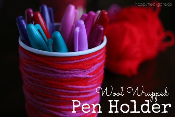 Wool Wrapped Pen Holder Valentines Craft